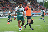 Manu Tuilagi of Leicester Tigers leaves the pitch with an injury during the Aviva Premiership semi final match between Saracens and Leicester Tigers at Allianz Park on Saturday 21st May 2016 (Photo: Rob Munro/Stewart Communications)
