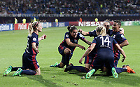 Football, Uefa Women's Champions League Final, VfL Wolfsburg - Olympique Lyonnais, Valeriy Lobanovskyi Stadium in Kiev on May 24, 2018.<br /> Olympique Lyonnais' Eugénie Le Sommer celebrates after scoring  with her teammates during the Uefa Women's Champions League Final between  VfL Wolfsburg and Olympique Lyonnais, at the Valeriy Lobanovskyi Stadium in Kiev, on May 24, 2018.<br /> UPDATE IMAGES PRESS/Isabella Bonotto