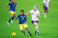 ORLANDO, FL - JANUARY 18: Julie Ertz #8 of the USWNT running for the ball during a game between Colombia and USWNT at Exploria Stadium on January 18, 2021 in Orlando, Florida.