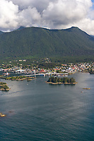Aerial view of the coastal community of Sitka, Alaska, on Baranof Island in the Southeast Alaska panhandle.
