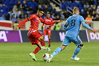 HARRISON, NJ - FEBRUARY 26: Cristian Alonso Martinez Mena #16 of AD San Carlos during a game between AD San Carlos and NYCFC at Red Bull on February 26, 2020 in Harrison, New Jersey.