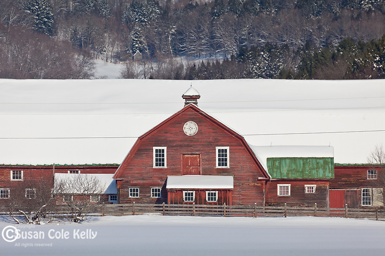 Red barn in Woodstock, VT, USA