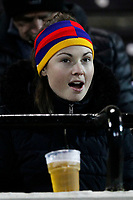 A female fan seen during the Greene King IPA Championship match between London Scottish Football Club and Nottingham Rugby at Richmond Athletic Ground, Richmond, United Kingdom on 7 February 2020. Photo by Carlton Myrie.