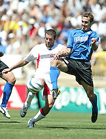 1 May 2004: DC United Ben Olsen battles for the ball against Earthquakes Brian Mullan at Spartan Stadium in San Jose, California.   DC United and Earthquakes tied 1-1..Mandatory Credit: Michael Pimentel/ISI