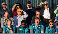 front row (r-l) Leon Britton, Alfie Mawson, Nathan Dyer & Stephen Kingsley of Swansea City travel but sit out the match during the 2017/18 Pre Season Friendly match between Barnet and Swansea City at The Hive, London, England on 12 July 2017. Photo by Andy Rowland.