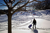Brooklyn, New York<br /> December 27, 2010<br /> <br /> Snow blizzard on the East Coast. Children sled in Prospect Park.