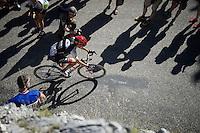 Emanuel Buchmann (DEU/Bora-Argon18) up the Lacets du Grand Colombier (Cat1/891m/8.4km/7.6%)<br /> <br /> stage 15: Bourg-en-Bresse to Culoz (160km)<br /> 103rd Tour de France 2016
