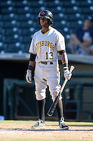 Scottsdale Scorpions shortstop Alen Hanson (13), of the Pittsburgh Pirates organization, during an Arizona Fall League game against the Surprise Saguaros on October 17, 2013 at Surprise Stadium in Surprise, Arizona.  Surprise defeated Scottsdale 10-5.  (Mike Janes/Four Seam Images)