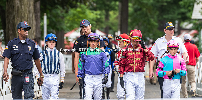July 17, 2021: Jockeys enter the paddock before the start of the first race on Diana Stakes Day at. Saratoga Race Course in Saratoga Springs, N.Y. on July 17,2021. Rob Simmons/Eclipse Sportswire/CSM