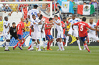 Costa Rica Celso Borges (5) makes a free kick.  Honduras defeated Costa Rica in Penalty Kick 4-2 in the quaterfinals for the 2011 CONCACAF Gold Cup , at the New Meadowlands Stadium, Saturday June 18, 2011.