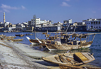 Dubai 1972, United Arab Emirates.  Dhows and Abras (Water Taxis) in The Creek.