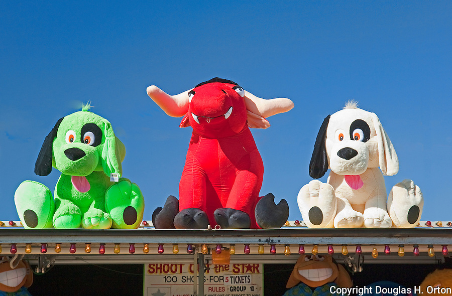 Midway games and  rides bring thrills to fairgoers at The Puyalup Fair.  Western Washington State Fair.
