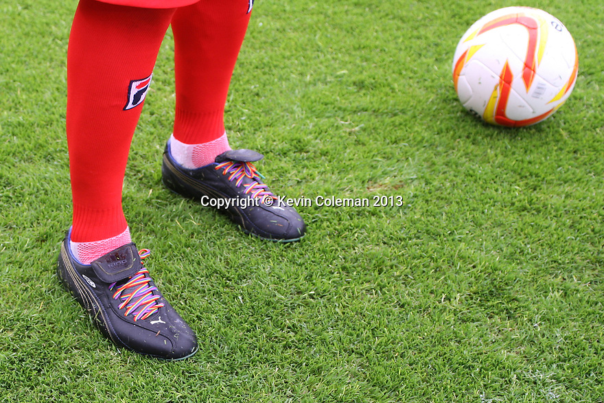 Robin Shroot of Stevenage wear rainbow laces in support of the Stonewall campaign<br />  - Stevenage v Carlisle Untied - Sky Bet League 1 - Lamex Stadium, Stevenage - 21st September, 2013<br />  © Kevin Coleman 2013