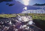 Glacier Peak Wilderness Area, Alpine cirque, mountain stream, Cascade Range, Washington State, Pacific Northwest, wilderness, snow field, flowing water,