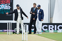 Kane Williamson (l), Match referee Chris Broad, and Virat Kohli before the toss during India vs New Zealand, ICC World Test Championship Final Cricket at The Hampshire Bowl on 19th June 2021