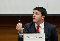 Il Presidente del Consiglio Matteo Renzi tiene la conferenza stampa di fine anno a Roma, 29 dicembre 2014.<br /> Italian Premier Matteo Renzi attends the year-end press conference in Rome, 29 December 2014.<br /> UPDATE IMAGES PRESS/Isabella Bonotto