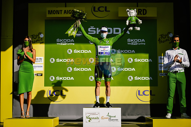 Irish Champion Sam Bennett (IRL) Deceuninck-Quick Step retains the points Green Jersey at the end of Stage 6 of Tour de France 2020, running 191km from Le Teil to Mont Aigoual, France. 3rd September 2020.<br /> Picture: ASO/Pauline Ballet | Cyclefile<br /> All photos usage must carry mandatory copyright credit (© Cyclefile | ASO/Pauline Ballet)