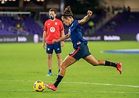 ORLANDO, FL - FEBRUARY 24: Carli Lloyd #10 of the USWNT warms up before a game between Argentina and USWNT at Exploria Stadium on February 24, 2021 in Orlando, Florida.