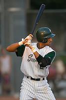 Third baseman Joaquin Rodriguez (22) of the Savannah Sand Gnats at bat at Grayson Stadium in Savannah, GA, Wednesday August 6, 2008  (Photo by Brian Westerholt / Four Seam Images)