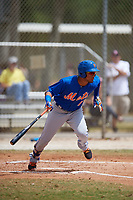 New York Mets Ricardo Cespedes (7) bats during a minor league Spring Training game against the Miami Marlins on March 26, 2017 at the Roger Dean Stadium Complex in Jupiter, Florida.  (Mike Janes/Four Seam Images)