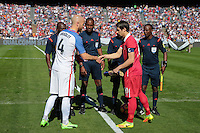 San Diego, CA - Sunday January 29, 2017: Michael Bradley, Aleksandar Palocevic during an international friendly between the men's national teams of the United States (USA) and Serbia (SRB) at Qualcomm Stadium.