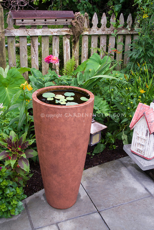 Tiny container water garden on patio, tall beautiful pot. Fence, birdhouses, flowers, tropical looking plants