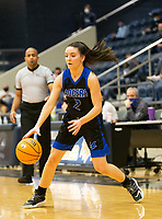 Aubrey Treadwell (2) of Rogers  dribbles the ball against Bentonville West at Wolverine Arena, Centerton,  AR, Tuesday, January 12, 2021 / Special to NWA Democrat-Gazette/ David Beach