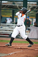Keylon Mack (17) of Gladewater High School in Gladewater, Texas during the Under Armour All-American Pre-Season Tournament presented by Baseball Factory on January 15, 2017 at Sloan Park in Mesa, Arizona.  (Art Foxall/MJP/Four Seam Images)