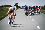 Echelons form during Stage 7 of the 2021 Tour de France, running 249.1km from Vierzon to Le Creusot, France. 2nd July 2021.  <br /> Picture: A.S.O./Pauline Ballet | Cyclefile<br /> <br /> All photos usage must carry mandatory copyright credit (© Cyclefile | A.S.O./Pauline Ballet)