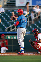 Clearwater Threshers Jhailyn Ortiz (26) bats during a Florida State League game against the Palm Beach Cardinals on August 9, 2019 at Roger Dean Chevrolet Stadium in Jupiter, Florida.  Palm Beach defeated Clearwater 3-0 in the second game of a doubleheader.  (Mike Janes/Four Seam Images)