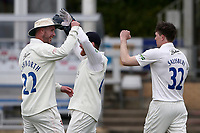 Matt Salisbury of Durham celebrates with his team mates after taking the wicket of Sir Alastair Cook during Essex CCC vs Durham CCC, LV Insurance County Championship Group 1 Cricket at The Cloudfm County Ground on 16th April 2021