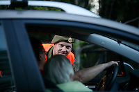 Private Kenneth checks a car. Norwegian Home Guard soldiers during exercise Djerv..The Home Guard has traditionally been designated to secure important  domestic installations in case of war or crisis. With the cold war long gone, a war in Afghanistan and budget cuts, there is a debate over the Home Guard's role in the future.