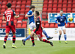 St Johnstone v St Mirren……29.08.20   McDiarmid Park  SPFL<br />Murray Davidson tackles Dylan Connolly<br />Picture by Graeme Hart.<br />Copyright Perthshire Picture Agency<br />Tel: 01738 623350  Mobile: 07990 594431