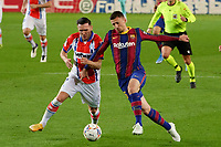 13th February 2021; Camp Nou, Barcelona, Catalonia, Spain; La Liga Football, Barcelona versus Deportivo Alaves; Clement Lenglet FC Barcelona holds off the challenge from Lucas Perez of Deportivo