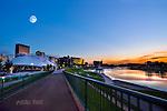 Dayton Ohio sunset of skyline through Riverscape - under moon