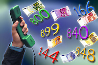 Aumenti delle tariffe telefoniche. Numeri telefonici a pagamento. .Increases in telephone charges. Numbers payphone....