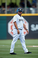 Guillermo Quiroz (40) of the Charlotte Knights coaches third base during the game against the Gwinnett Braves at BB&T BallPark on July 14, 2019 in Charlotte, North Carolina.  The Stripers defeated the Knights 5-4. (Brian Westerholt/Four Seam Images)