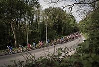 Peloton early race.<br /> <br /> 104th Liège - Bastogne - Liège 2018 (1.UWT)<br /> 1 Day Race: Liège - Ans (258km)