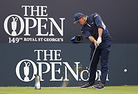 14th July 2021; The Royal St. George's Golf Club, Sandwich, Kent, England; The 149th Open Golf Championship, practice day; Bryson Dechambeau (USA) hits an iron from the tee on the opening hole