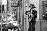 """- Reggio Calabria, February 1994, soldier on guard during the military operation """"Riace"""" for the control of territory and the fight against organized crime 'ndrangheta<br /> <br /> - Reggio Calabria, Febbraio 1994, militare di guardia durante l'operazione """"Riace"""" per il controllo del territorio ed il contrasto alla criminalità organizzata 'ndrangheta"""