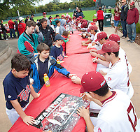 STANFORD, CA - March 27, 2011: Fans of Stanford baseball lineup for autographs after Stanford's game against Long Beach State at Sunken Diamond. Stanford won 6-5.