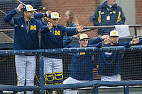 Michigan Wolverines bench against the Bowling Green Falcons on April 6, 2016 at Ray Fisher Stadium in Ann Arbor, Michigan. Michigan defeated Bowling Green 5-0. (Andrew Woolley/Four Seam Images)