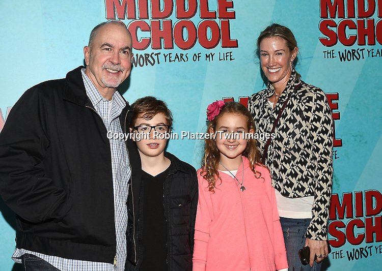 """Terence Winter and wife Rachel and children attend the """"Middle School: The Worst Years of My Life"""" New York Screening on October 1, 2016 at the Regal E-Walk in New York, New York, USA.<br /> <br /> photo by Robin Platzer/Twin Images<br />  <br /> phone number 212-935-0770"""