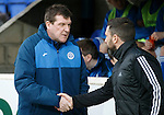 St Johnstone v Aberdeen...06.02.16   SPFL   McDiarmid Park, Perth<br /> Tommy Wright shakes hands with Derek McInnes before kick off<br /> Picture by Graeme Hart.<br /> Copyright Perthshire Picture Agency<br /> Tel: 01738 623350  Mobile: 07990 594431