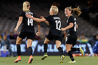 June 7, 2016: KATIE BOWEN (14) of New Zealand celebrates her goal during an international friendly match between the Australian Matildas and the New Zealand Football Ferns as part of the teams' preparation for the Rio Olympic Games at Etihad Stadium, Melbourne. Photo Sydney Low