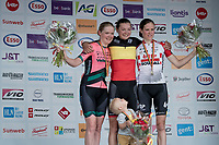 young mum Jesse Vandenbulcke (BEL/Doltcini - Van Eyck Sport) is the 2019 Belgian National Champion WE - Road Race (NC) & her son Fabian (named after Cancellara) joins her during the podium ceremony<br /> <br /> 2nd: Ann-sophie Duyck (BEL/Parkhotel Valkenburg)<br /> 3rd: Julie Van de Velde (BEL/Lotto-Soudal)<br /> <br /> 1 day race from Gent to Gent (120km)<br /> <br /> ©kramon