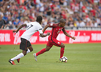 Commerce City, CO - Thursday June 08, 2017: Nathan Lewis, Darlington Nagbe during a 2018 FIFA World Cup Qualifying Final Round match between the men's national teams of the United States (USA) and Trinidad and Tobago (TRI) at Dick's Sporting Goods Park.