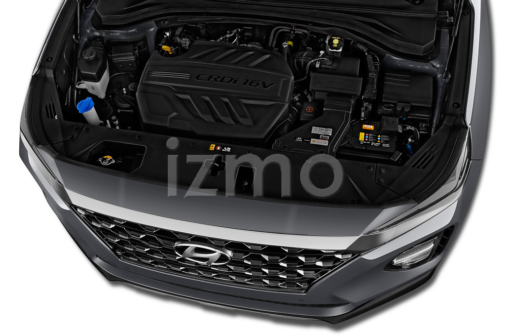 Car stock 2019 Hyundai Santa FE Shine 5 Door SUV engine high angle detail view