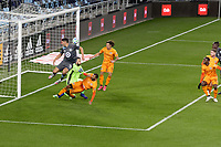 ST PAUL, MN - OCTOBER 18: Marko Maric #1 of Houston Dynamo and Michael Boxall #15 of Minnesota United FC battle for the ball in front of goal during a game between Houston Dynamo and Minnesota United FC at Allianz Field on October 18, 2020 in St Paul, Minnesota.
