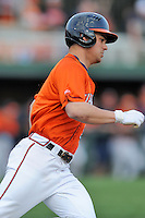 Virginia Cavaliers designated hitter Kenny Towns #9 runs to first during a game against the Clemson Tigers at Doug Kingsmore Stadium on March 15, 2013 in Clemson, South Carolina. The Cavaliers won 6-5.(Tony Farlow/Four Seam Images).